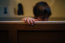 Boy In Wooden Bathtub At Home