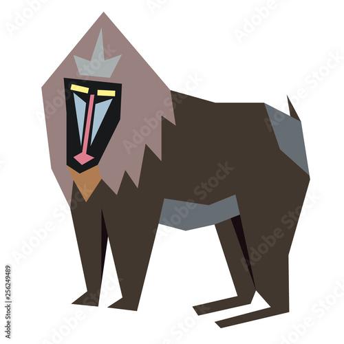 baboon flat illustration Wallpaper Mural