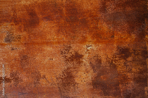 Foto op Aluminium Metal Grunge rusted metal texture. Rusty corrosion and oxidized background. Worn metallic iron panel. Abandoned design wall. Copper bar.