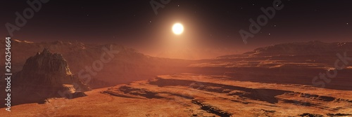 Foto auf AluDibond Schokobraun Mars at sunset, panorama of Mars, alien landscape, Martian view