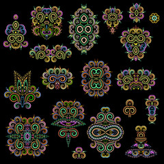 Bright bohemian ethnic cliche with paisley and decorative elements. Vector set of various ornaments, deco template. Oriental trendy print for decoration, gift, design,  for women's clothing.