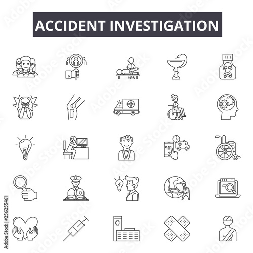 Accident Investigation Line Icons Editable Stroke Concept