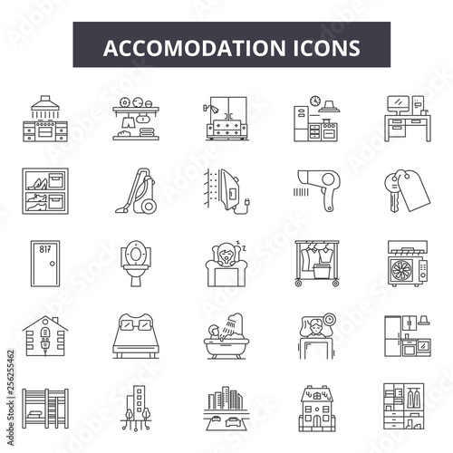 Accomodation line icons Wallpaper Mural