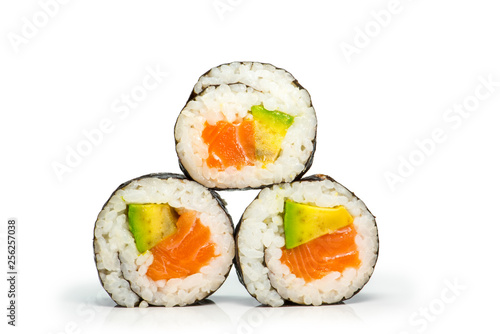 Fototapeta Sushi roll with salmon and avocado obraz