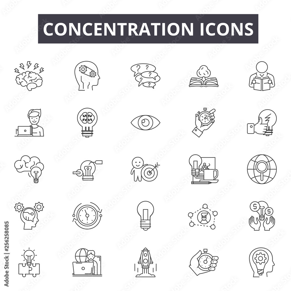 Fototapeta Concentration line icons for web and mobile. Editable stroke signs. Concentration  outline concept illustrations