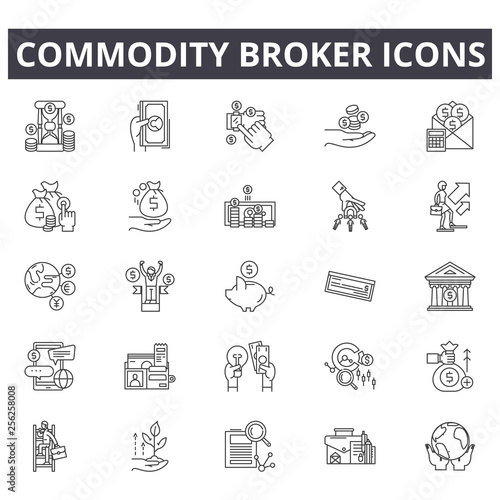 Fotomural  Commodity broker line icons for web and mobile