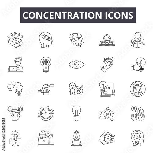 Fotografiet Concentration line icons for web and mobile