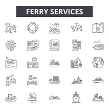 Ferry Services Line Icons For ...