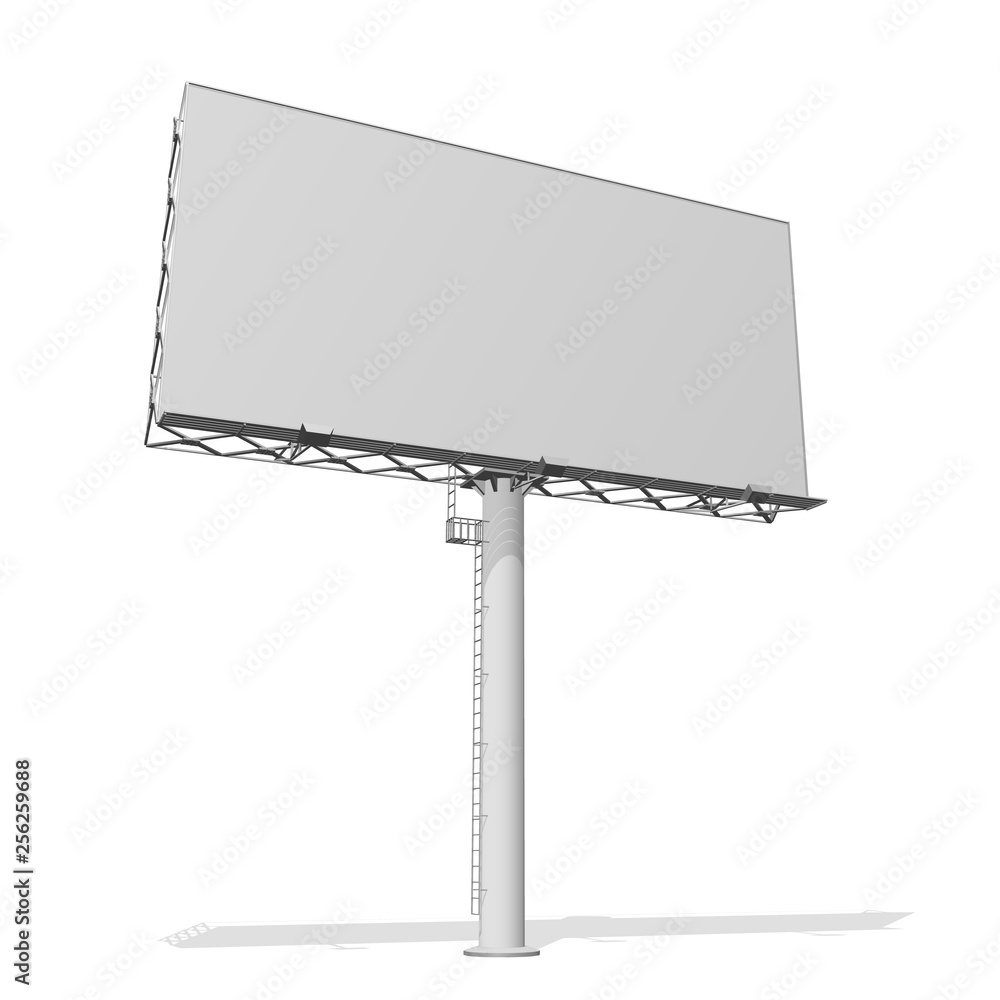 Fototapety, obrazy: Advertising construction for outdoor advertising big billboard. Billboard for your design. Isolated on white background.
