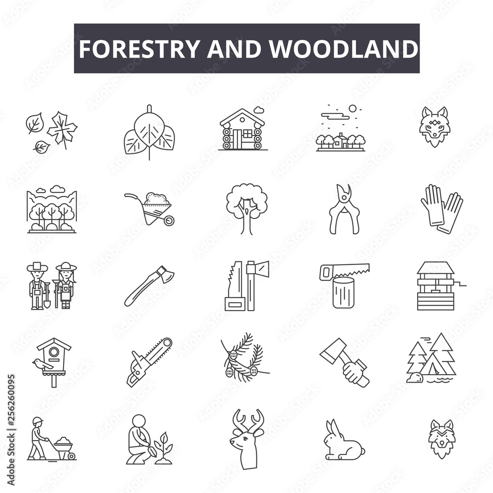 Fototapety, obrazy: Forestry and woodland line icons for web and mobile. Editable stroke signs. Forestry and woodland  outline concept illustrations