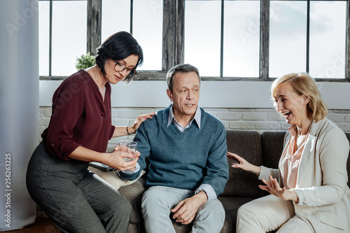 Fotografia  Impressive short-haired man being floaded with feelings