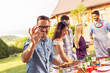 canvas print picture - Friends making barbecue