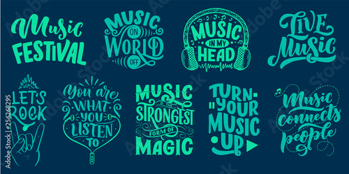Set with inspirational quotes about music Wallpaper Mural