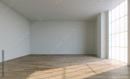 Empty white room with big window and sun light. 3D illustration.