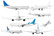 canvas print picture Set of eight aircraft isolated from the white background.