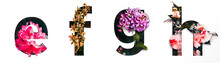 Flower Font Letter E, F, G, H Create With Real Alive Flowers And Precious Paper Cut Shape Of Alphabet. Collection Of Brilliant Bloom Flora Font For Your Unique Text, Typography With Many Concept Ideas