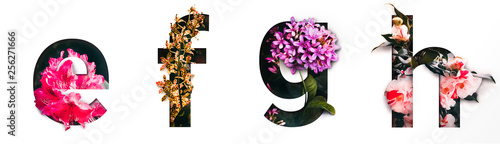 Photo  Flower font letter e, f, g, h Create with real alive flowers and Precious paper cut shape of alphabet