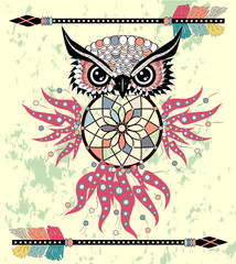 Boho style colored owl with tribal arrows. Bohemian tribal owl with a dream catcher. Totem owl
