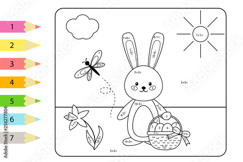 Educational coloring page for kids  Paint color by