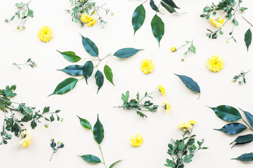 Yellow flowers, green leaves on beige background, flat lay, top view