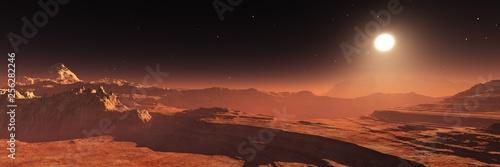 Poster Marron chocolat Mars at sunset, panorama of Mars, alien landscape, Martian view