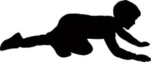 A Child Crawling Silhouette Ve...