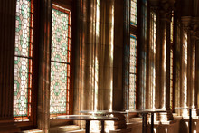 Light Goes Through The Stained Windows In A Church