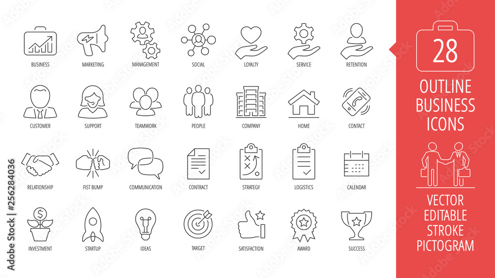Fototapeta Vector business isolated editable stroke thin line icon set with marketing, customer, relationship, fist bump, communication, contract, strategy, logistics, calendar and more outline sign.