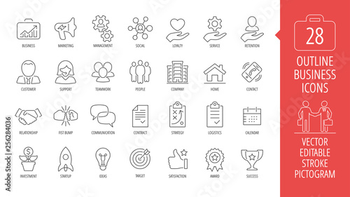 Fotografia  Vector business isolated editable stroke thin line icon set with marketing, customer, relationship, fist bump, communication, contract, strategy, logistics, calendar and more outline sign