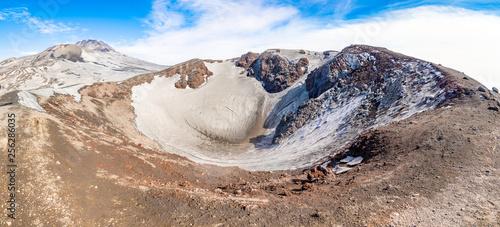 Vászonkép  Escriva crater on volcano Etna in snow in winter, Sicily, Italy
