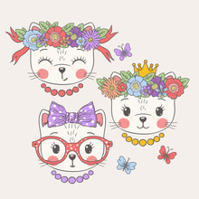 Cute Cats. Sweet Girls. Princess. Funny Kitty Face. Friends
