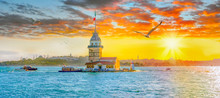 Maiden Tower (kiz Kulesi ) At Sunset - Istanbul, Turkey
