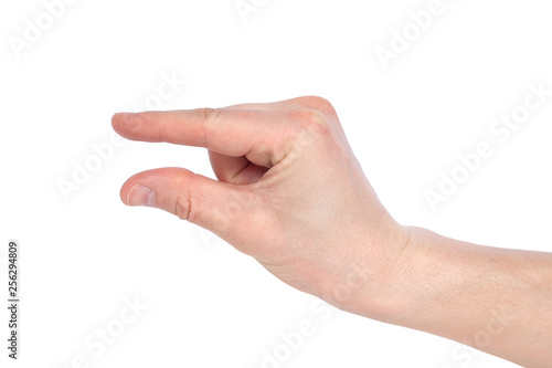 Photographie Male caucasian hand gesturing a small amount, or smal size, isolated on white background