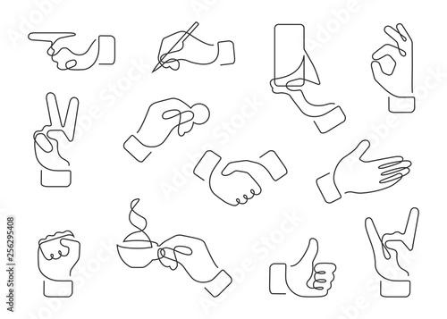 Valokuva  hand gestures one line