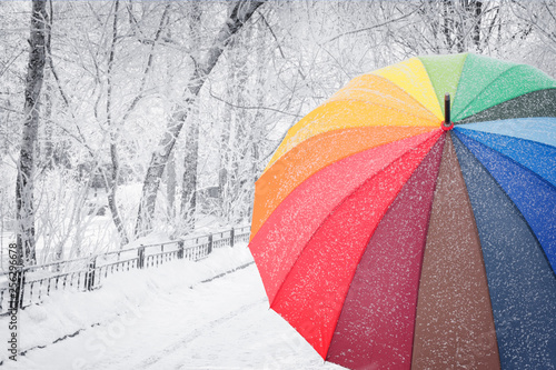 Fotomural  Rainbow colored umbrella on winter street