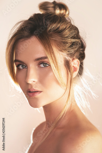 Fotografie, Obraz Portrait of young beautiful woman with perfect skin