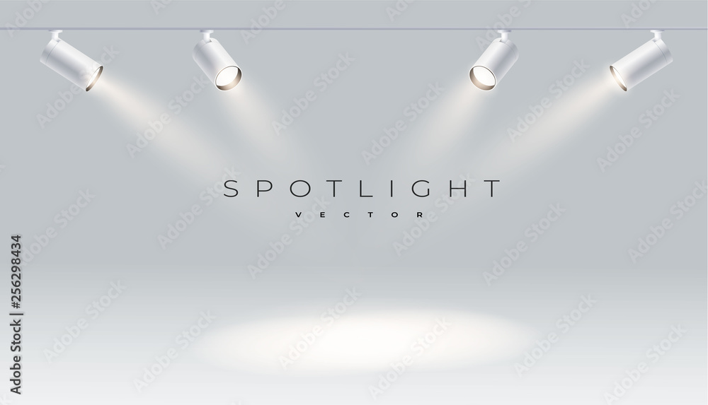 Fototapeta Four spotlights realistic with bright white light shining stage vector set. Illuminated effect form projector, projector for studio. Minimalistic lamp in grey color eps 10