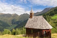 Alpine Chapel Kamelisenalm In Front Of Mountain Range, Villgraten Valley, Eastern Tyrol, Austria, Europe