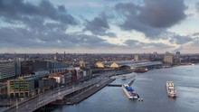 View Of Amsterdam With River IJ, Amsterdam Centraal Station, Amsterdam, The Netherlands, Europe