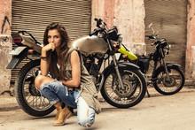 Woman Is Posing Beside Old Motorcycles