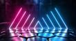 Cyberpunk Neon Glowing Vibrant Purple Blue Laser Led Glowing Tube Lights On Sci Fi Futuristic Modern Tiled Hexagonal Floor Dark Empty Room Hall 3D Rendering