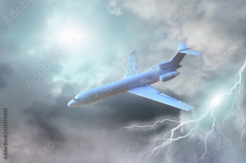 Odrzutowiec w ciemnym burzowym niebie 3d render
