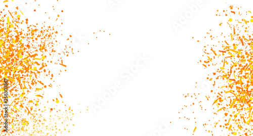Obraz Confetti on isolated white. Bright explosion. Texture with falling geometric elements. Abstract background. Pattern for design. Print for polygraphy, banners, t-shirts and textiles. Greeting cards - fototapety do salonu