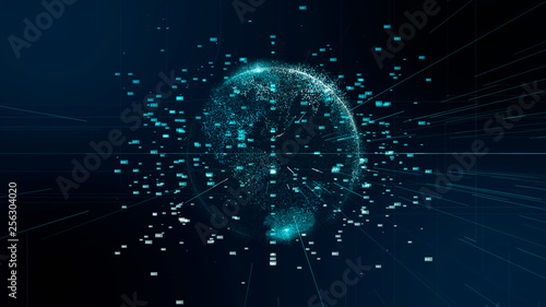 Fototapeta 先進テクノロジー 5G AI 人工知能 グラフィック 素材 背景 fintech ブロックチェーン obraz
