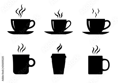 Obraz Coffee cup icons set. Vector - fototapety do salonu