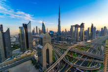 United Arab Emirates, Dubai, Burj Khalifa, Cityscape In The Evening