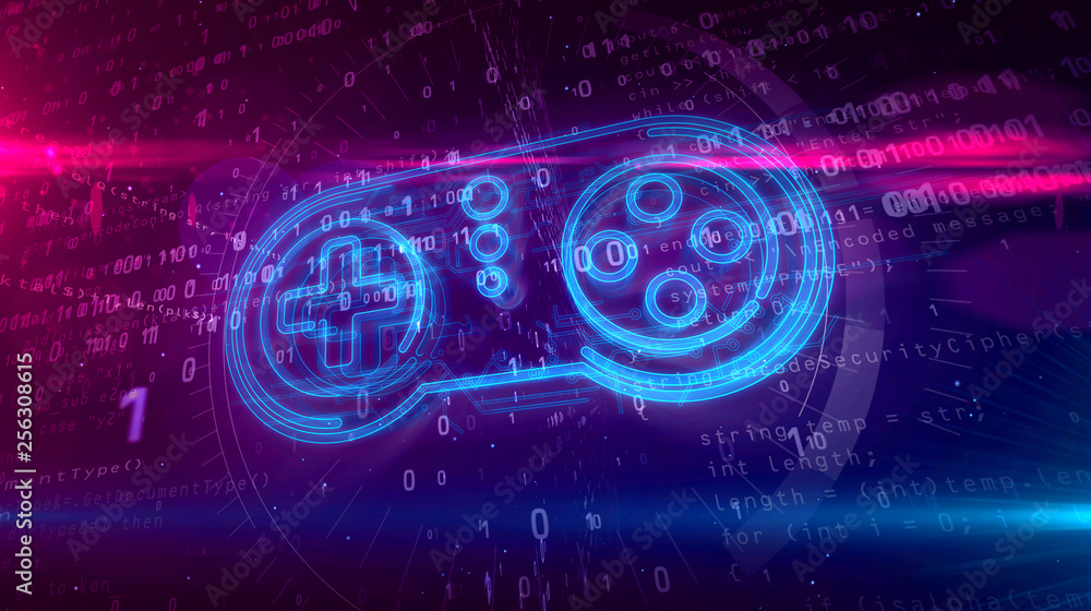 Fototapeta Gamepad controller hologram concept