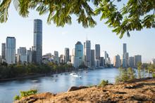 Brisbane Skyline View From Kangaroo Point Cliffs.
