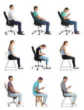 Collage Of People Sitting On C...
