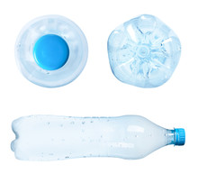 Set Of Empty Plastic Bottles On White Background